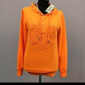 Kenzo Woman Neon Orange Hooded Sweatshirt NWT